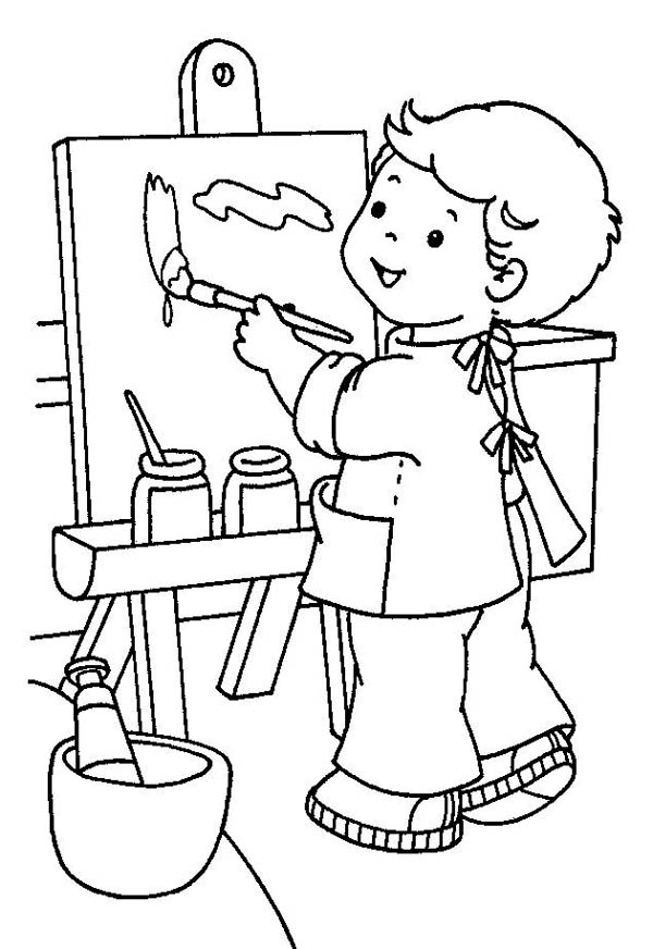 Little Painter In Kindergarten Coloring Page : Coloring Sky
