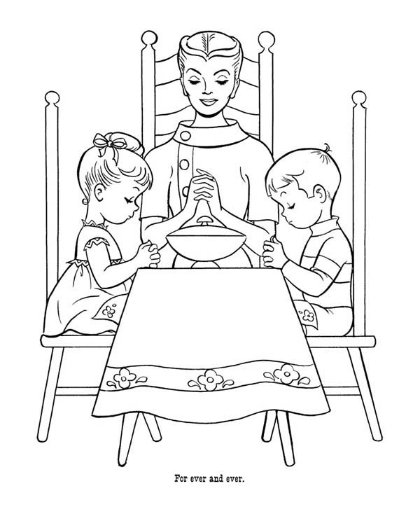 Lords Prayer For Our Food Today Coloring Page : Coloring Sky