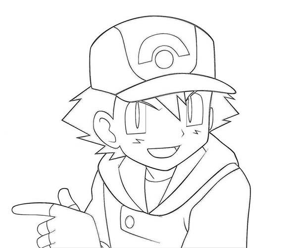 Main Character Ash Ketchum On Pokemon Coloring Page