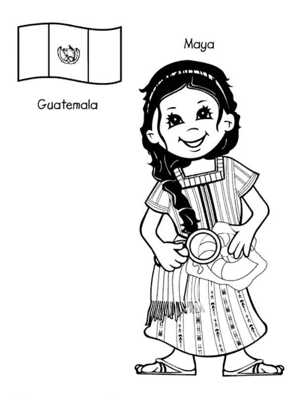 Maya Guatemalan Kid From Around The World Coloring Page