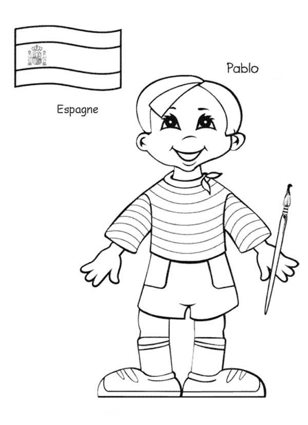 Pablo Spanish Kid From Around The World Coloring Page
