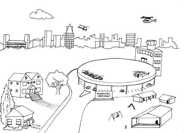 Picture International Airport Coloring Page : Coloring Sky