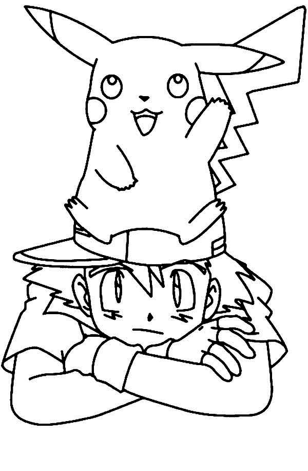pikachu standing on ash ketchum head on pokemon coloring