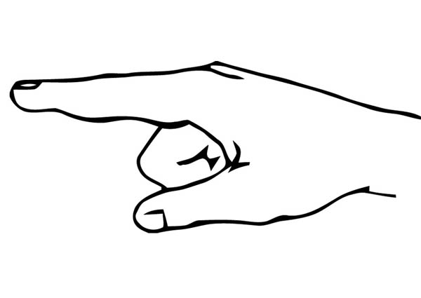 Pointing Finger Hand Coloring Page : Coloring Sky