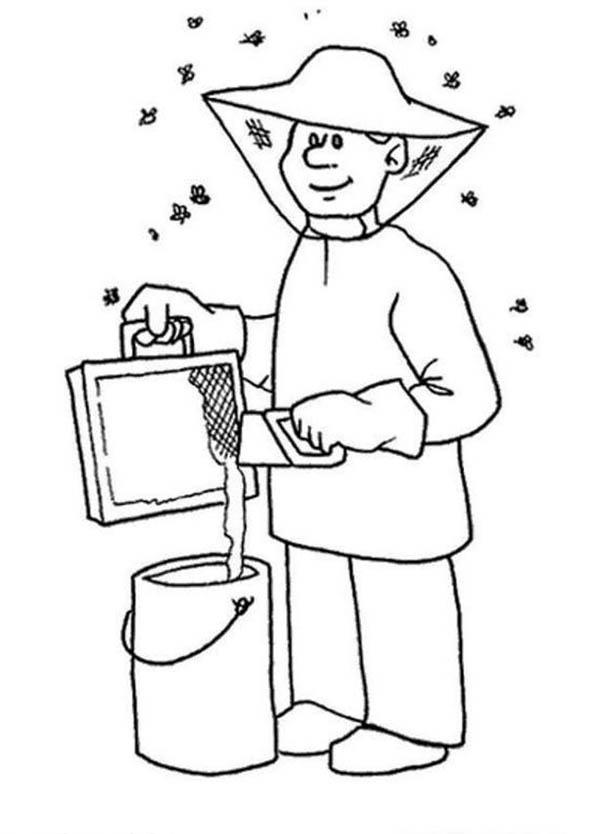 Professions Making Honey Coloring Page : Coloring Sky