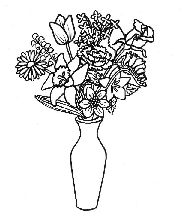 Remove Flower from Bouquet to Flower Vase Coloring Page