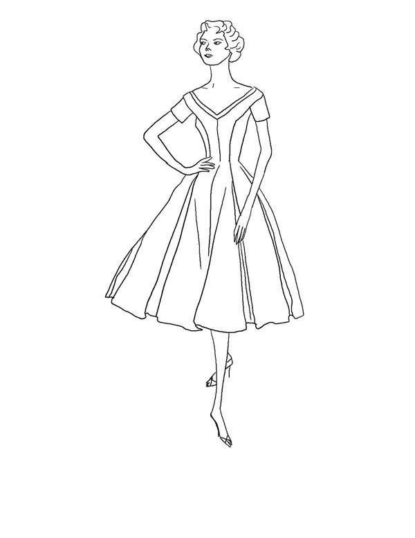 Retro Theme Fashion Model Coloring Page : Coloring Sky