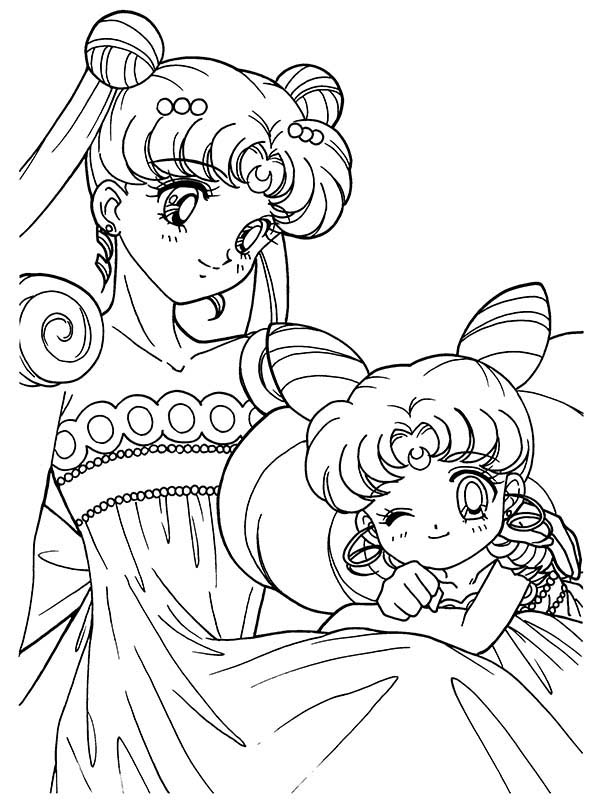 Sailor Moon and Sailor Chibi Moon Anime Coloring Page