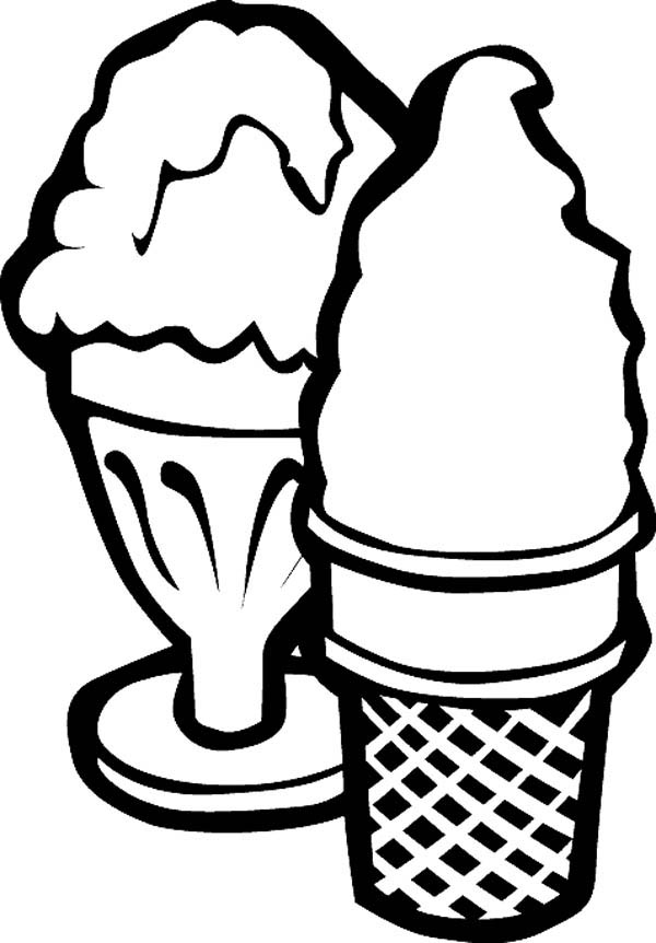 Serving Ice Cream With Cup And Cone Coloring Page