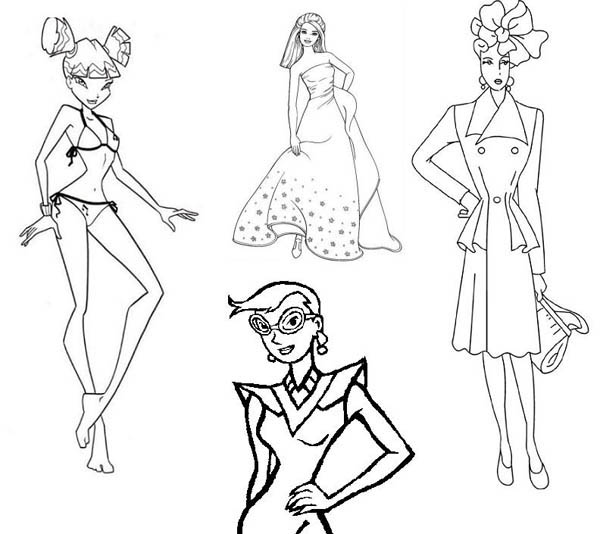 Fashion Model Outline Coloring Pages
