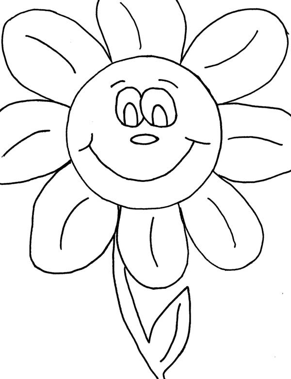 Smiling Flower At Kindergarten Coloring Page : Coloring Sky