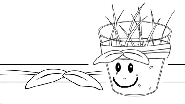 Smiling Growing Plants Pot Coloring Page : Coloring Sky