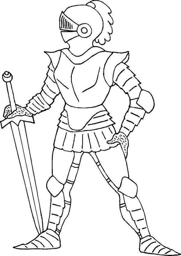 Standing Still Knight Coloring Page: Standing Still Knight