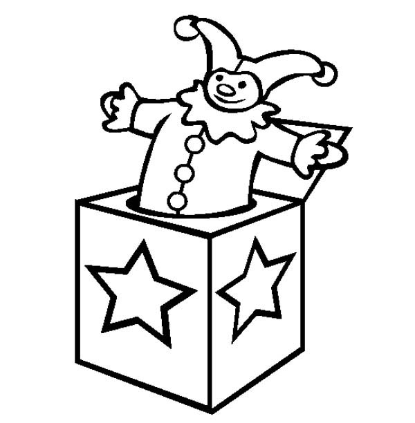 Star Decorated Jack In The Box Coloring Page : Coloring Sky