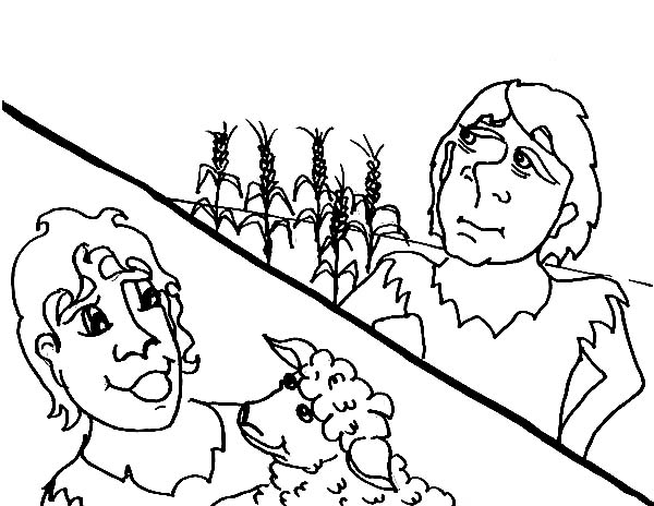 Story Of Abel And Cain Coloring Page For Kids : Coloring Sky