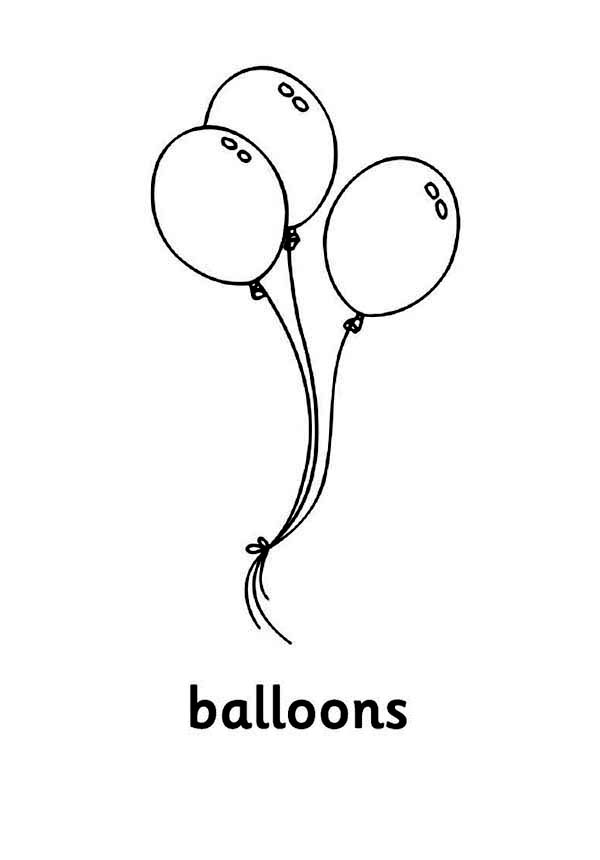Three Beautiful Balloon Coloring Page : Coloring Sky