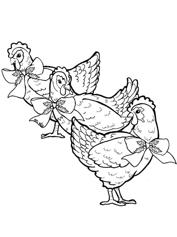 Three French Hens Coloring Page : Coloring Sky