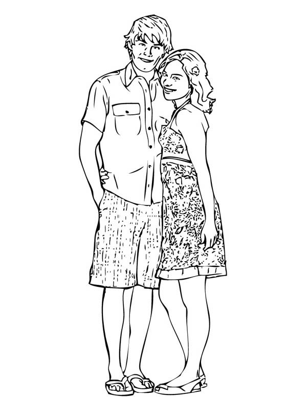 Troy And Gabriella From In High School Musical Coloring
