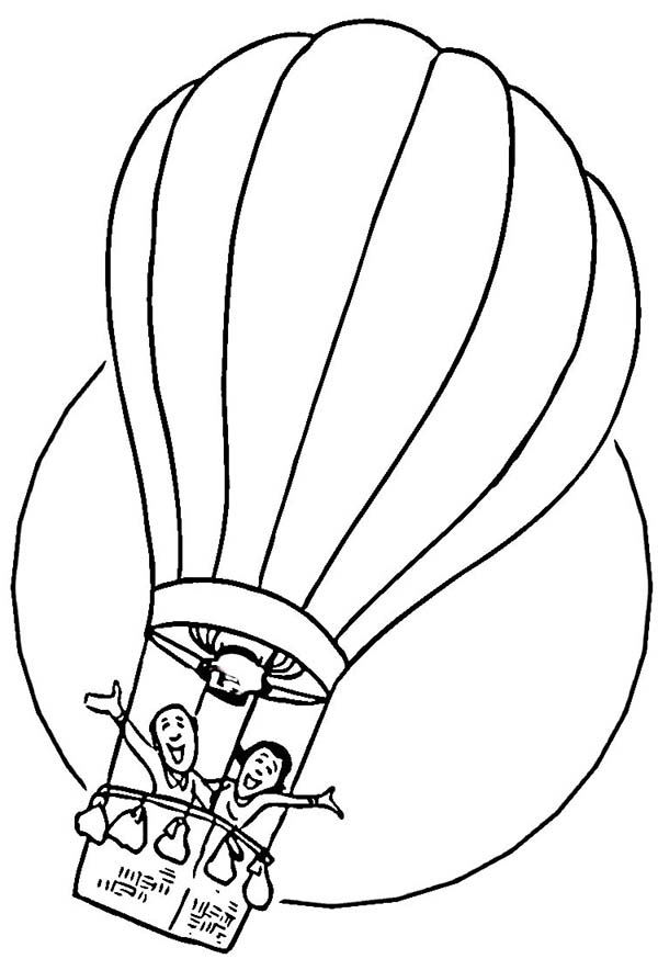 Two Happy People Ride Hot Air Balloon Coloring Page