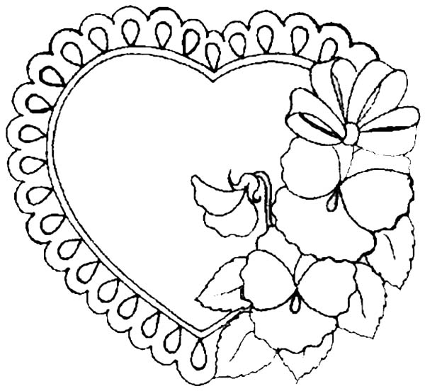 Valentine Love Frame Coloring Page : Coloring Sky