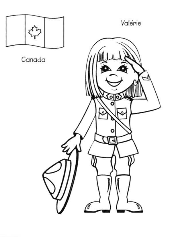 Valerie Canadian Kid From Around The World Coloring Page