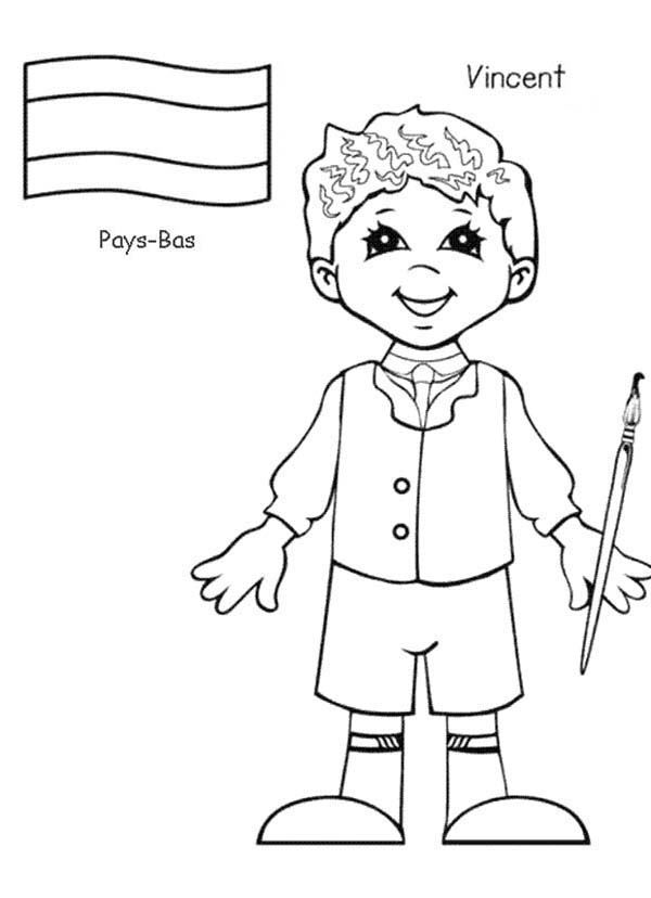 Vincent Pays Bas Kid From Around The World Coloring Page