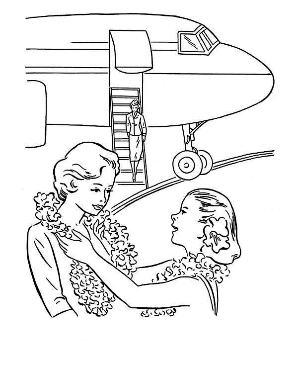 Welcoming Tourist At Hawaii Airport Coloring Page