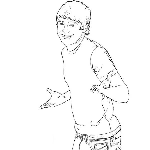 Zac Efron As Troy Bolton In High School Musical Coloring