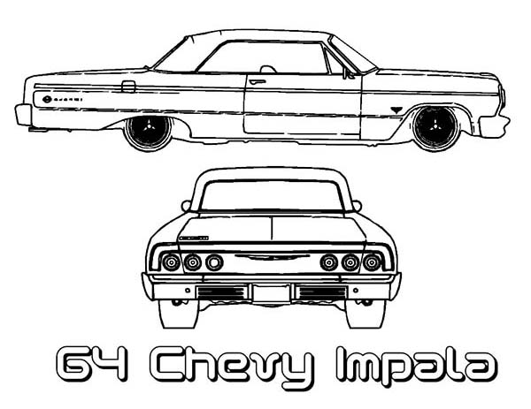 64 Chevy Impala Old Car Coloring Page : Coloring Sky