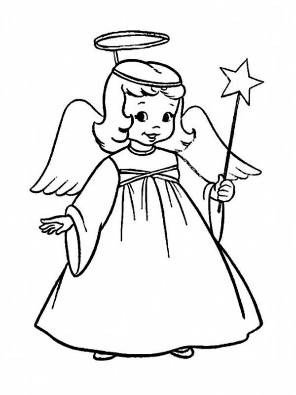 A Charming Tiny Girl In Angel Costume On Christmas