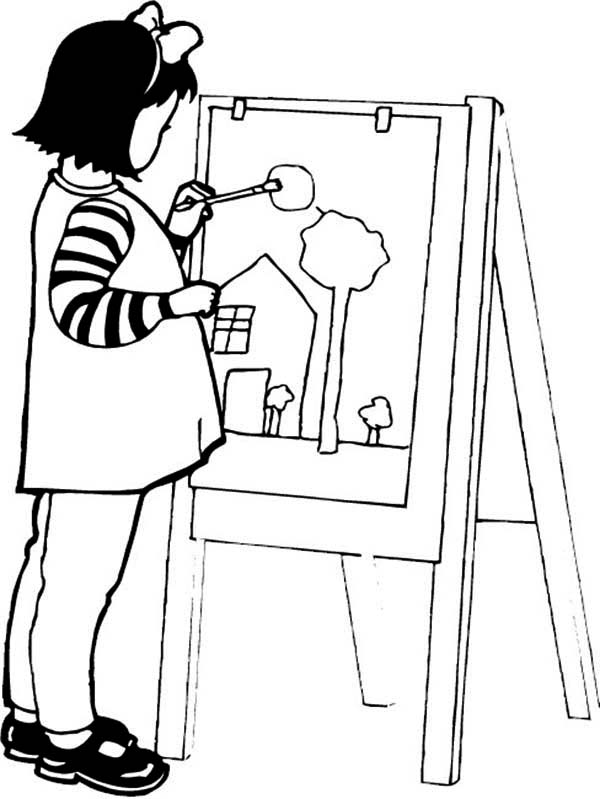 A Girl Paint A Beautiful House Coloring Page : Coloring Sky