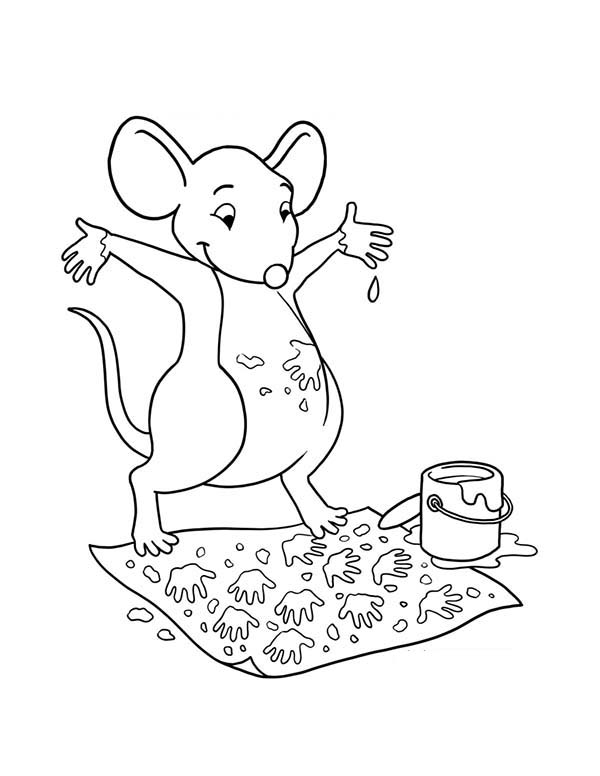 A Mouse Paint With His Feet Coloring Page : Coloring Sky