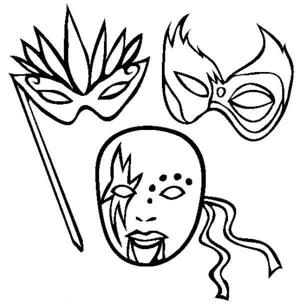 Awesome Mardi Gras Mask Coloring Page : Coloring Sky