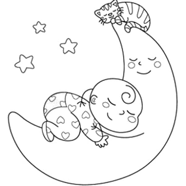 Baby and Kitten Sleeping with the Moon Coloring Page