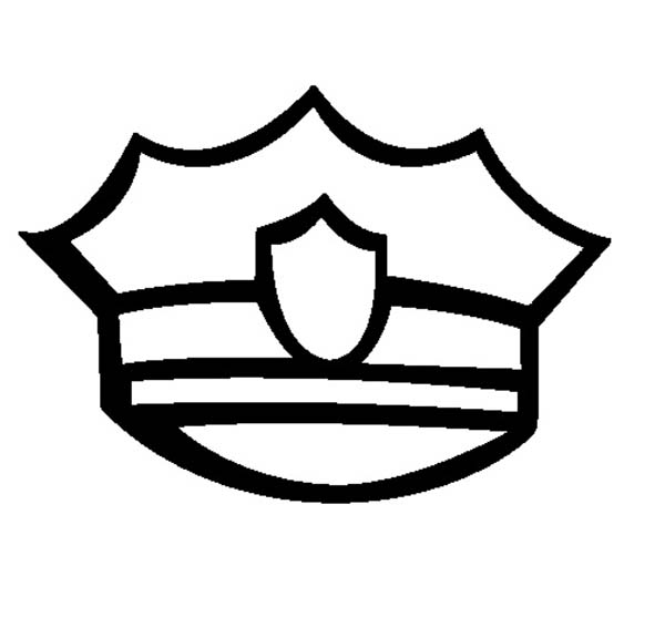 Badge On Policeman Hat Coloring Page : Coloring Sky