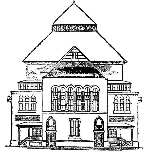 Big School House Coloring Page : Coloring Sky