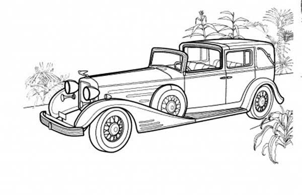 Cadillac Town Old Car Coloring Page : Coloring Sky