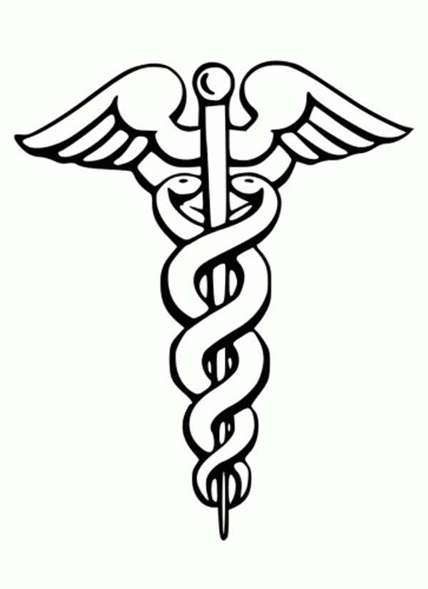 Caduceus Medical Symbol Coloring Page: Caduceus Medical