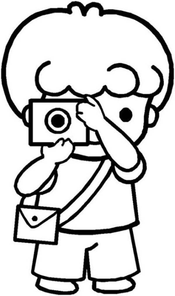 Cartoon of Little Kids Doing Photography Coloring Page