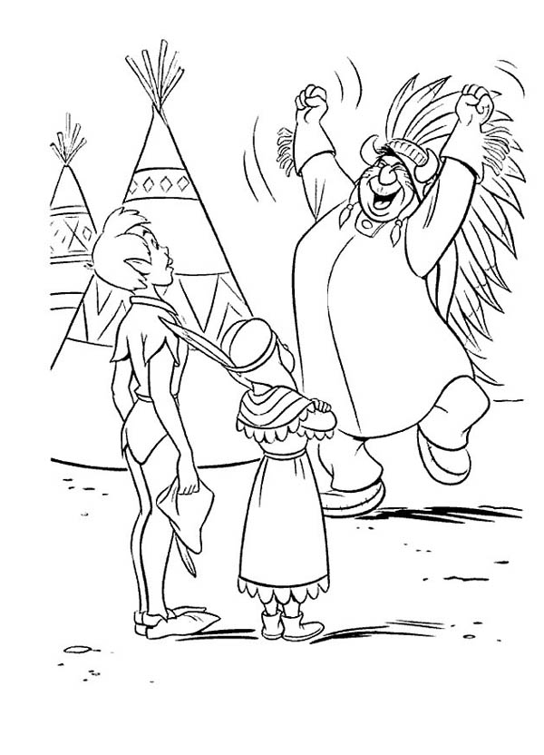 Chief is Happy Peter Pan Save His Daughter Coloring Page