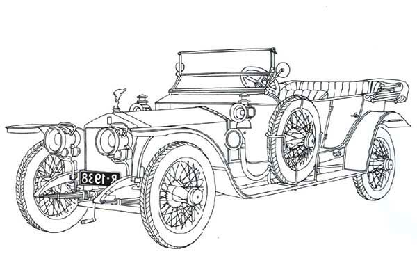 Classic Old Car Coloring Page Silver Ghost Rolls Royce