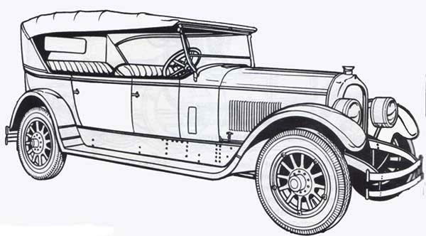 Classic Old Car Exhibition Coloring Page : Coloring Sky
