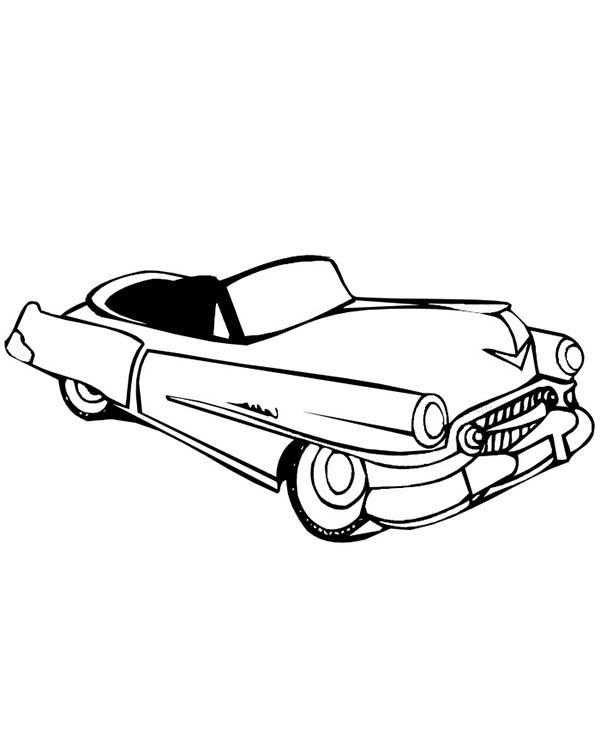 Convertible Old Car Coloring Page: Convertible Old Car