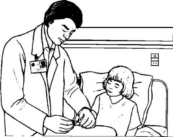 Doctor Control Patient Medical Condition Coloring Page