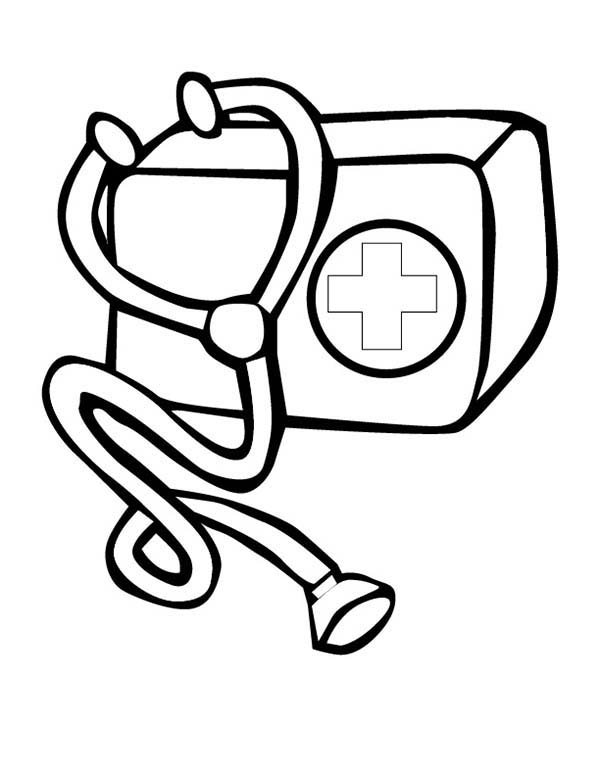 Doctor Medical Bag Kit Coloring Page : Coloring Sky