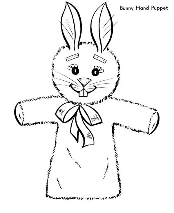 Easter Bunny Hand Puppet Coloring Page : Coloring Sky