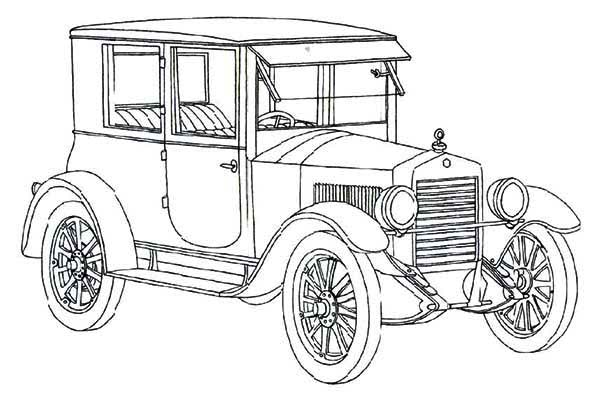 Essex Coach Classic Old Car Coloring Page : Coloring Sky