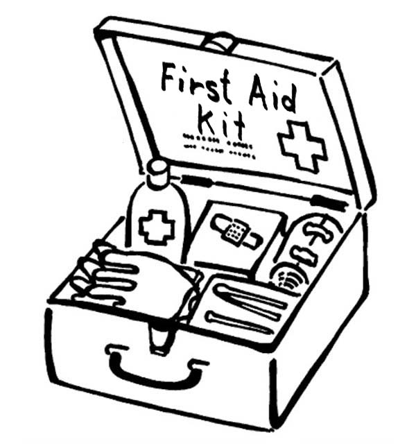 First Aid Box For Medical Purposes Coloring Page: First
