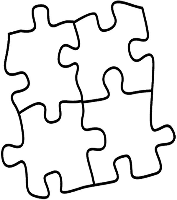 four puzzles pieces coloring page  coloring sky