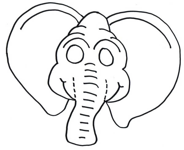 Funny Elephant Mask Coloring Page : Coloring Sky